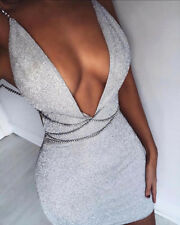 Sexy Women Bandage Bodycon Evening Party Cocktail Short Mesh Mini Sequins Dress