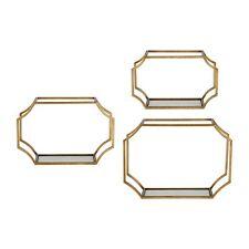 "Home Interior//Homco Shiny Gold Twisted Metal Tassel Wall Shelf~Glass Top 12/""WX5/"""