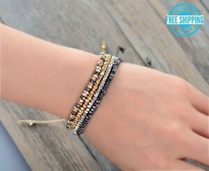 Gold Hematite Silver Mixed Metal Adjustable Beaded Cord Friendship Boho Bracelet