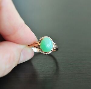 Certified Grade A Icy A Apple Green Jadeite Jade 18K Solid Rose Gold Ring 6.75