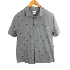 Walker Refinery Men's Button Up Shirt L Large Short Sleeve Gray Buck Deer Print