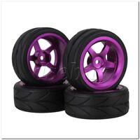 4x RC1:10 On Road Car Purple Alloy 5 Spoke Wheel Rims Arrow Pattern Rubber Tyres