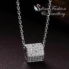 18K White Gold Plated Simulated Diamond Hexagon Square Sided Cylinder Necklace