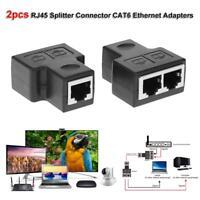 1 to 2 Ways RJ45 LAN Ethernet Sockt Network Female Splitter Connector Adapter