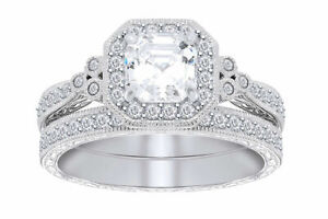 Sterling Silver Asscher Cubic Zirconia Antique Halo Ring Set