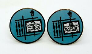 Vintage International House of Pancakes Blue and Gold Cuff Links