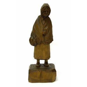 Vintage Folk Art Sculpture Wood Carving Old Woman Figurine Signed Quebec Canada