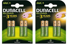 8 x Duracell AAA Rechargeable Batteries - 750 mAh HR6 DC1500 PRE STAY CHARGED