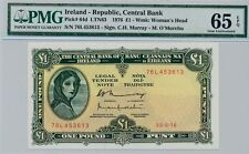 1976 The Central Bank of Ireland One Pound Gem-Uncirculated Pmg 65