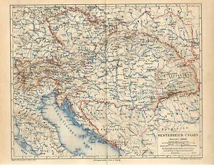 1876 AUSTRIA-HUNGARY CZECH CROATIA SERBIA ALBANIA BUKOVINA UKRAINE Antique Map