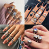 Retro Set Silver Gold Boho Arrow Moon Flower Midi Finger Knuckle Rings Jewelry