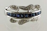 14k White Gold Sapphire and Diamond Ladies Ring