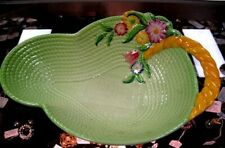 "Carlton Ware Exceptional Art Deco ca1920' 12.5"" Green Floral Basket"