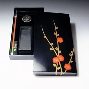 $PG49: Japanese Lacquered Wooden Writing Box with Calligraphy tools, Maki-e