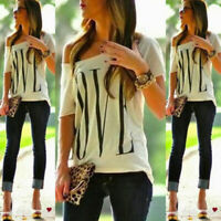 Summer Women One Shoulder Love Print Short Sleeve Tops Tee Casual Blouse T-shirt