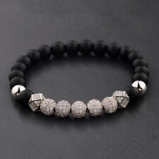8Mm Matte Lava Beads Men Bracelet Luxury 7 Pieces Silver Zircon Balls Hand-Woven