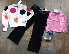 NWT Gap White Pink Black Orange Polka Dot Cardigan Sweater S 6 7 Velvet Pant Top