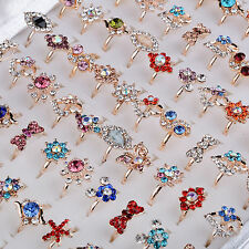 50/100Pc Wholesale Mixed Lots Jewelry Crystal Stainless Steel Women's Rings New