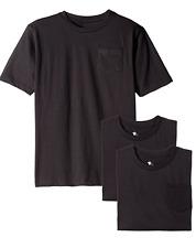 American Hawk Big Boys 3 Pc Pack Pocket Crew Neck T Shirt Size M 10/12 BLACK