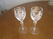 """2 Elegant Cornflower Pattern Small Glass Goblets Spiral  Stem 5 1/2"""" tall"""