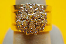 RCL ELEGANT SOLID 14K GOLD WIDE RING Natural DIAMOND CLUSTER size 6.75 1.36 tcw