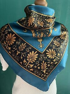 "Vintage Head Scarf Teal Blue Gold Regal Baroque Size 27"" Retro Satin Look Feel"