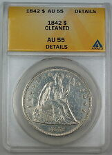 1842 Seated Liberty Silver Dollar, ANACS AU-55 Details, Cleaned Coin