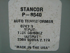 STANCOR STEP-UP TRANSFORMER P-8640 120/240 VAC 500VA FREE SHIPPING