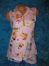 new Betty Boop Retro Pin Up Glamour Girl 50s Fruit Pink & Yellow Short Pajamas L