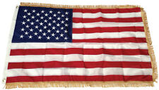 3x5 Ft Gold Fringe Us American Nylon Embroidered Usa Indoor Pole Flag