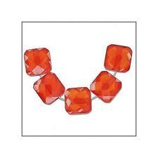 10 Cubic Zirconia Square Cushion Beads 6mm Orange Red #64936