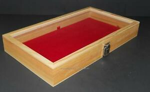 Natural Wood Glass Top Red Pad Display Box Case Militaria Medals Jewelry Knife