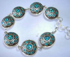 Men's Christmas gift,Chinese Tibet Miao Silver inlaid natural turquoise bracelet