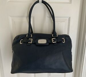 Extra large Michael Kors blue leather bag satchel duffel 20 inches wide
