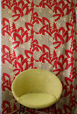 vintage 1980s abstract Deco leaf & berry linen interiors fabric