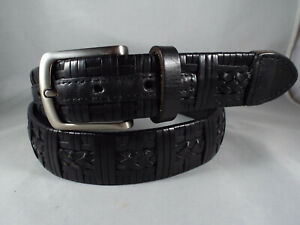 Unique Tommy Bahama Braided/Woven/Wrapped Black Leather Golf/Casual Belt Sz 40