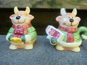 Christmas REINDEER Fresh cold milk Creamer & Sugar bowl set Girl and boy