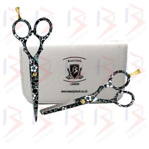 Hair Cutting Thinning Scissors Shears Set Professional Salon Black & White+ Case