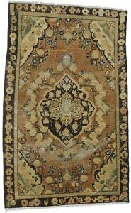 Beige Brown Classic Floral Antique Traditional 4X6 Oriental Rug Handmade Carpet