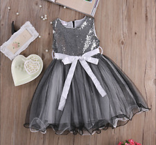 BELLE ROBE ETE GRISE STYLE PRINCESSE BAPTEME MARIAGE FILLE TAILLE 5 ANS