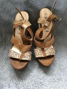 New Look Wedges Size 5 Leopard Print On Straps