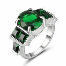 Size 6 Vintage Green Emerald Crystal Wedding Ring 10k White Gold Filled Jewelry