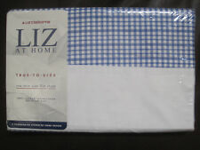 Liz Claiborne TWIN FLAT Sheet Cornflower Blue Plaid Checked Checks NEW in PKG