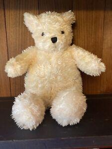 "2007 Avon Soft Plush White Cream Teddy Bear 12"" with back pouch"