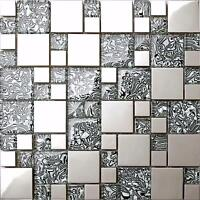 1 SQUARE METRE Metallic Random Mix Brushed Steel Silver Glass Mosaic Tiles  0132