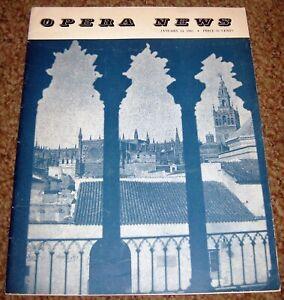 Opera News Magazine Jan 14 1961 Gedda Don Giovanni Rise of the Conductor etc