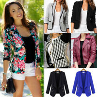 Womens Ladies Casual Suit Blazer Business OL Slim Fit Lapel Coat Jacket Outwear