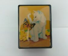 Vintage The Plactory Hand Crank Music Box White Cat & Butterfly Plastic 1980