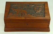 * WWII Africa Folk Art Carved Mahogany Wood Locking Letter Box - ELIZABETH REED