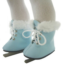 """Light Blue Fur Trim Figure Ice Skates for 18"""" American Girl Molly Doll Clothes"""